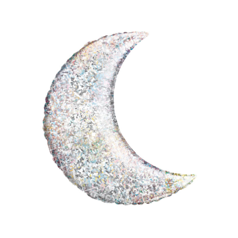 Holographic Silver Crescent Moon Foil Balloon 35""