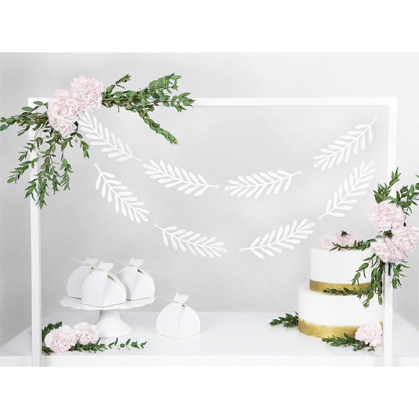 White Leaves DIY wedding Party Banner Garland
