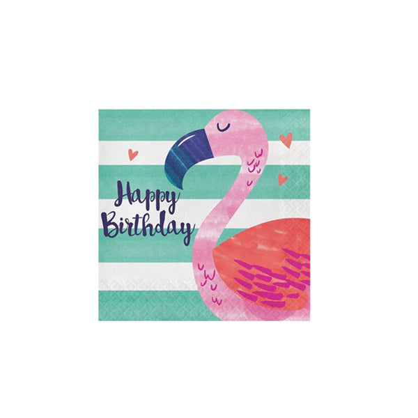 Flamingo Happy Birthday Napkins  Napkins Hello Party - Hello Party