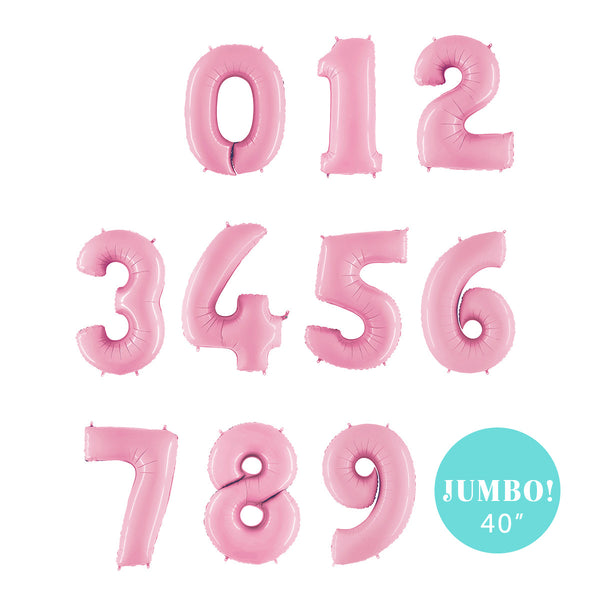 "Jumbo Light Pink Number Foil Balloons (40"")  Balloons Grabo Balloons - Hello Party"
