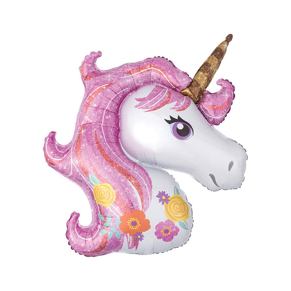 Huge Pink Floral Unicorn Party Foil Balloon