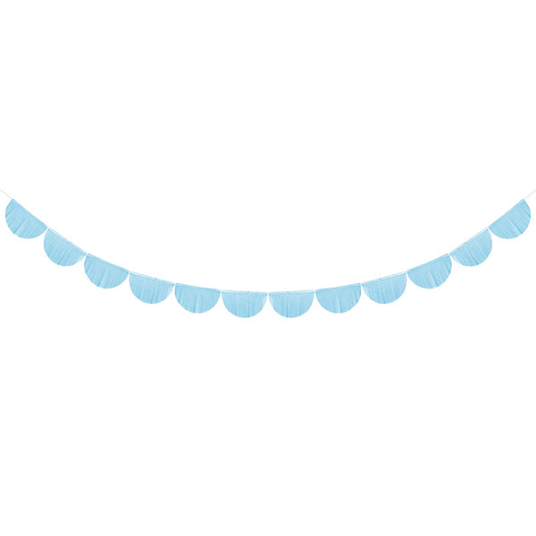 Scalloped Fringe Paper Garland - Light Blue  Tissue Fan Garland Party Deco - Hello Party