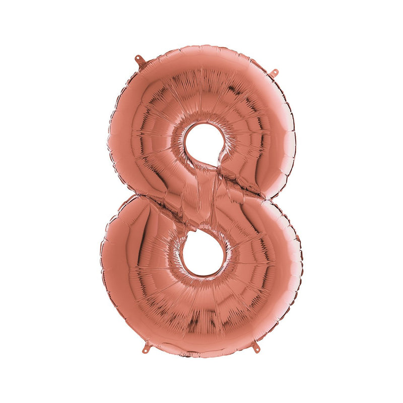 Large Rose Gold Number Foil Party Balloons - 8-eight