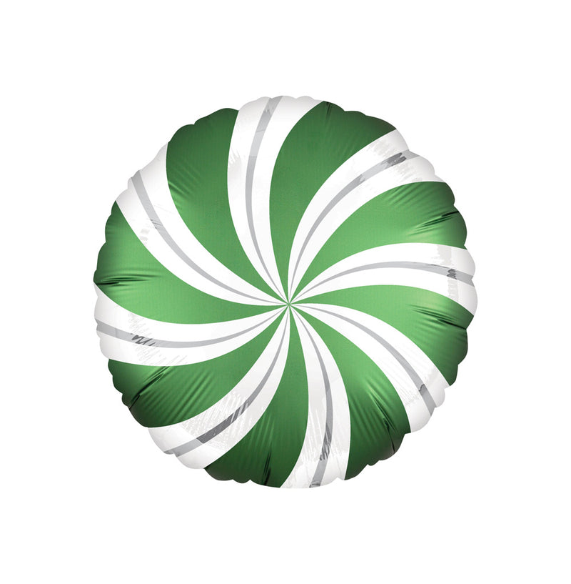 Emerald Green Candy Swirl Round Foil Balloon  Standard Foil Balloons Anagram - Hello Party