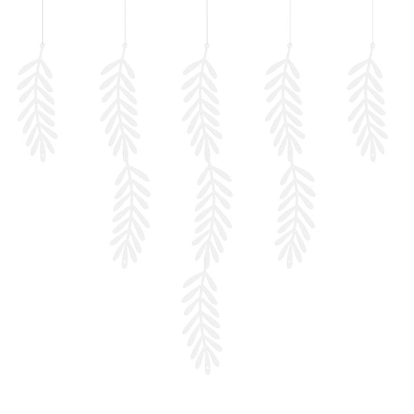 White Leaves DIY Party Banner Garland