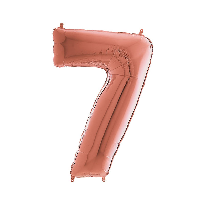 Large Rose Gold Number Foil Party Balloons - 7-seven