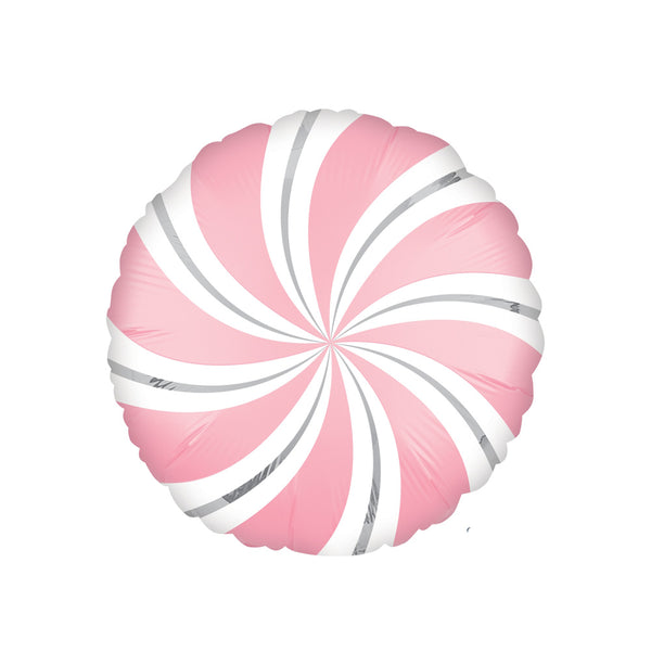 Bubblegum Pink Candy Swirl Round Foil Balloon  Standard Foil Balloons Anagram - Hello Party