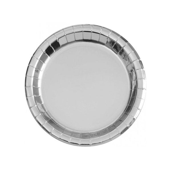 Shiny Metallic Silver Round Paper Plates  Party Plates Unique - Hello Party