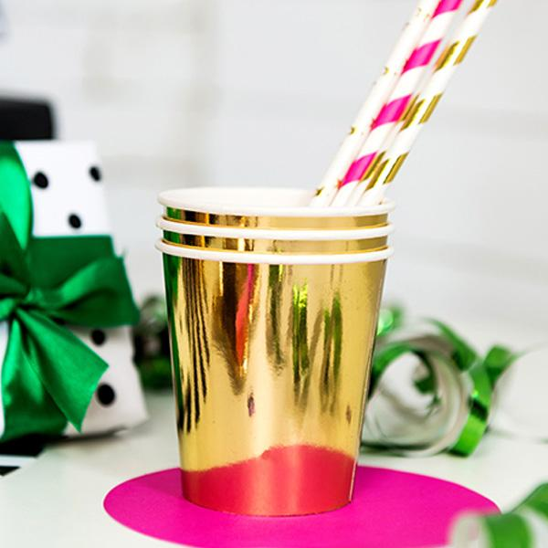 Shiny Gold Paper Cups  Party Cups Party Deco - Hello Party