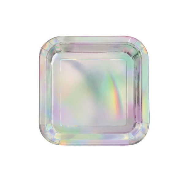 Shiny Metallic Iridescent Square Paper Party Plates