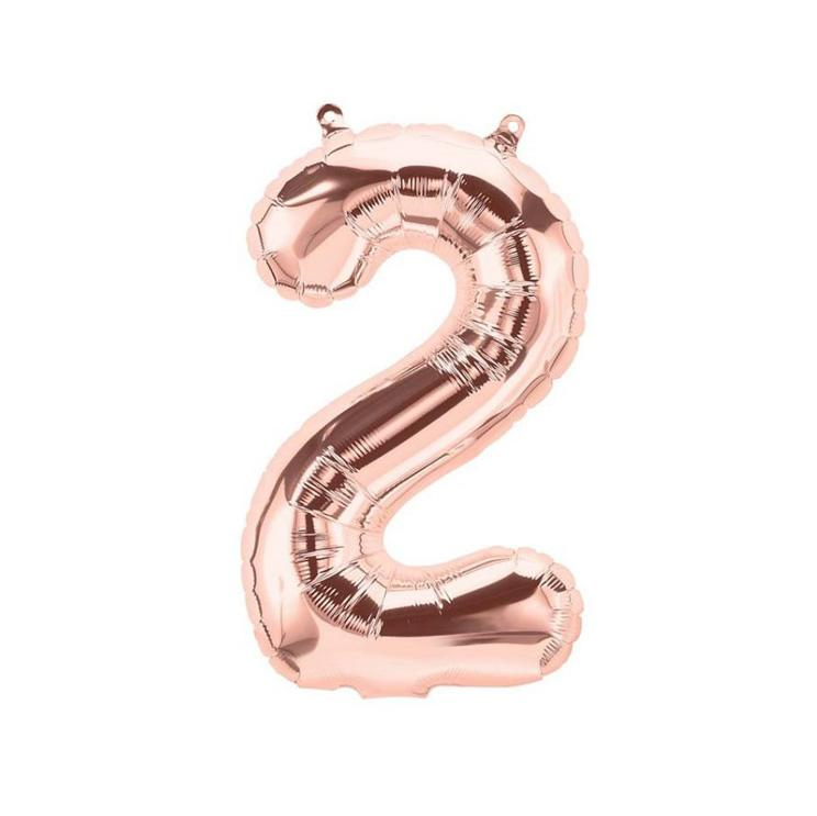 16 inch Rose Gold Number 2 Foil Balloon