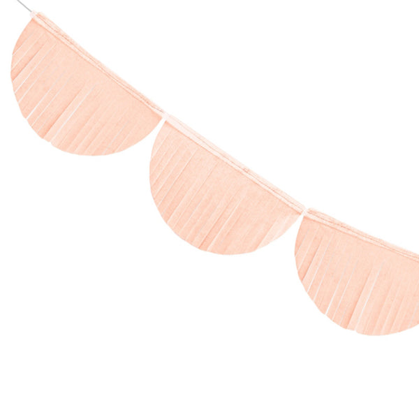 Scalloped Fringe Paper Garland - Light Peach  Tissue Fan Garland Party Deco - Hello Party