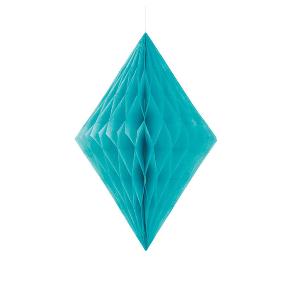 Caribbean Teal Diamond Tissue Hanging Decoration  Honeycomb Decoration HelloPartyUK - Hello Party