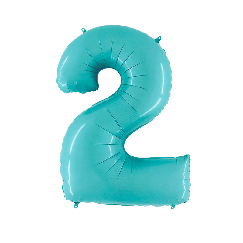 Large Light Blue Number Foil Party Balloons - 2-two