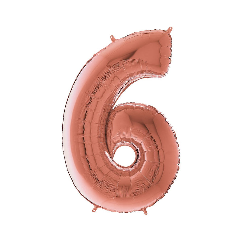 Large Rose Gold Number Foil Party Balloons - 6-six