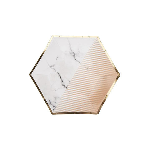 Blush Colour Block Marble Medium Plate (pack of 8)