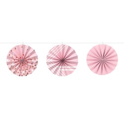 Rose Gold and Pink Mini Fan Garland  Paper Fans amscan - Hello Party