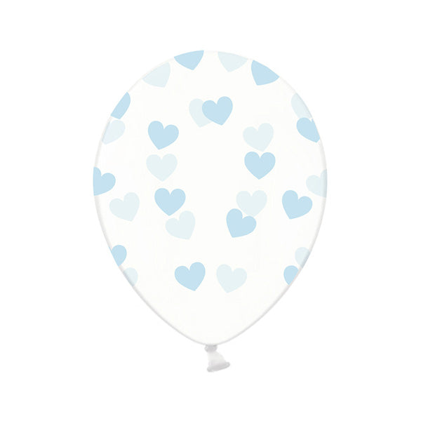 Blue Heart Pattern Clear Balloons (Pack of 3)  Printed Latex Balloons Hello Party Essentials - Hello Party