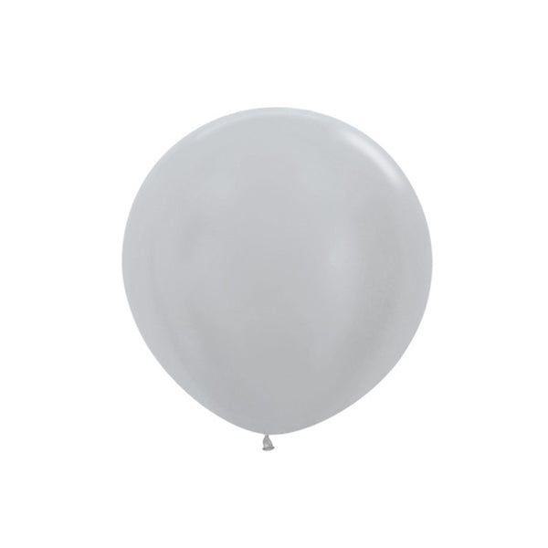 "Big Round Silver Latex Balloon 24""  Big Round Latex Balloons Hello Party Essentials - Hello Party"