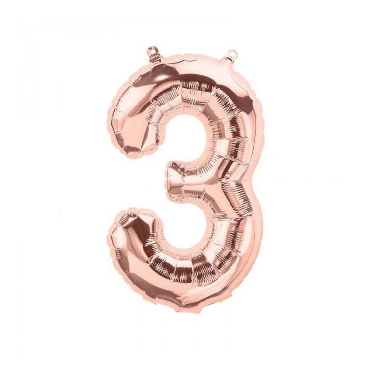 16 inch Rose Gold Number 3 Foil Balloon