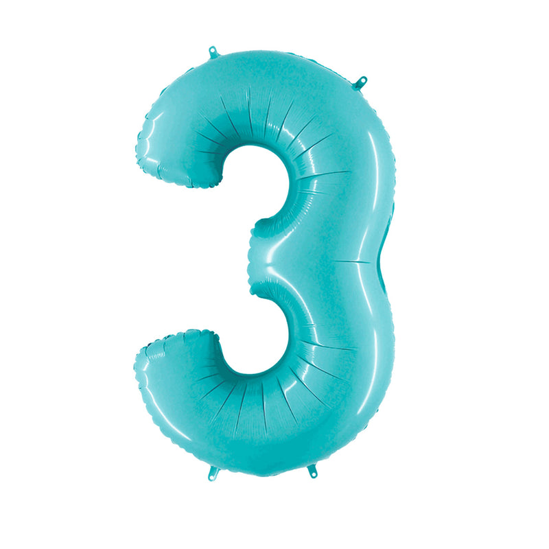 Large Light Blue Number Foil Party Balloons - 3-three