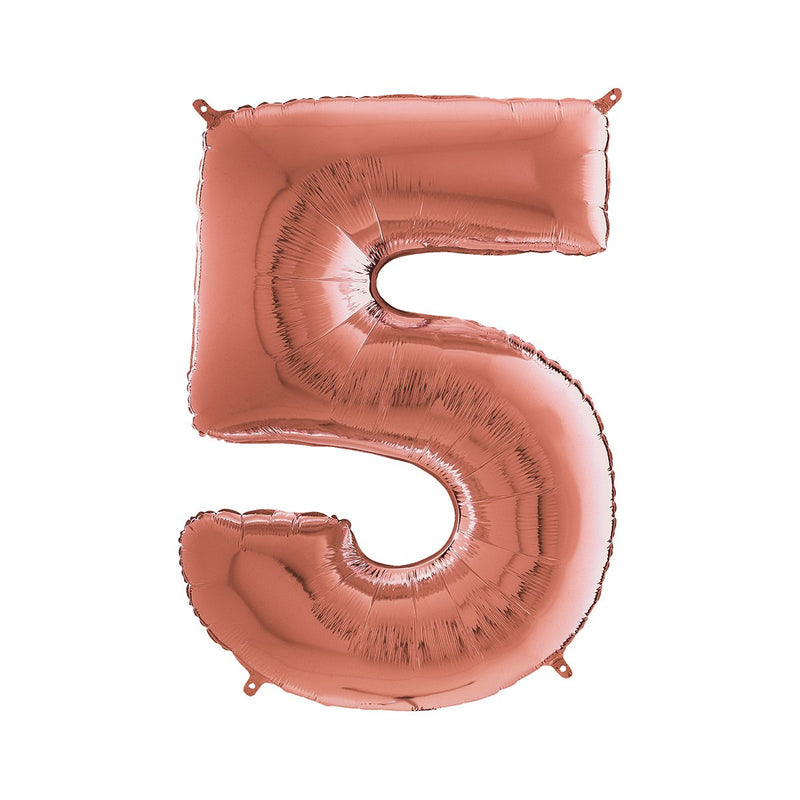 Large Rose Gold Number Foil Party Balloons - 5-five