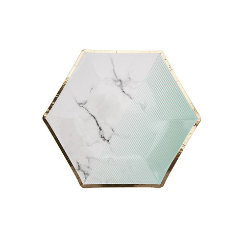 Mint Colour Block Marble Medium Plate (pack of 8)