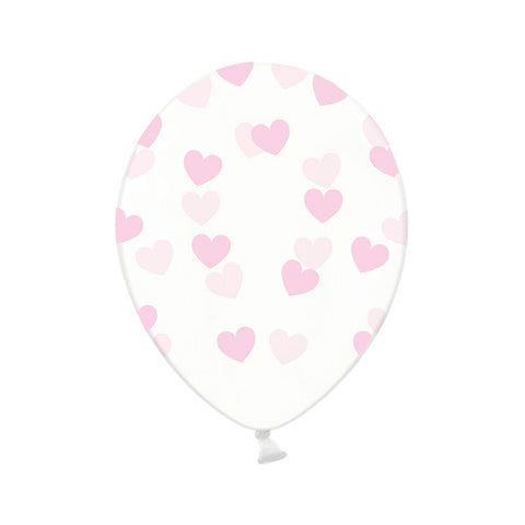Pink Heart Pattern Clear Balloons
