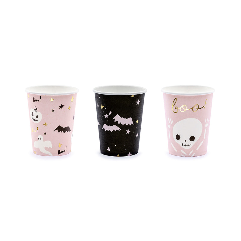 Cute Halloween Pink & Black Party Paper Cups