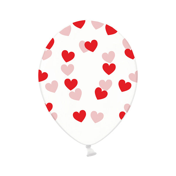 Red Heart Pattern Clear Balloons (Pack of 3)  Printed Latex Balloons Hello Party Essentials - Hello Party