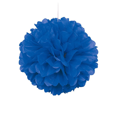 Blue Pom Pom Hanging Decoration  Tissue Pom Pom HelloPartyUK - Hello Party