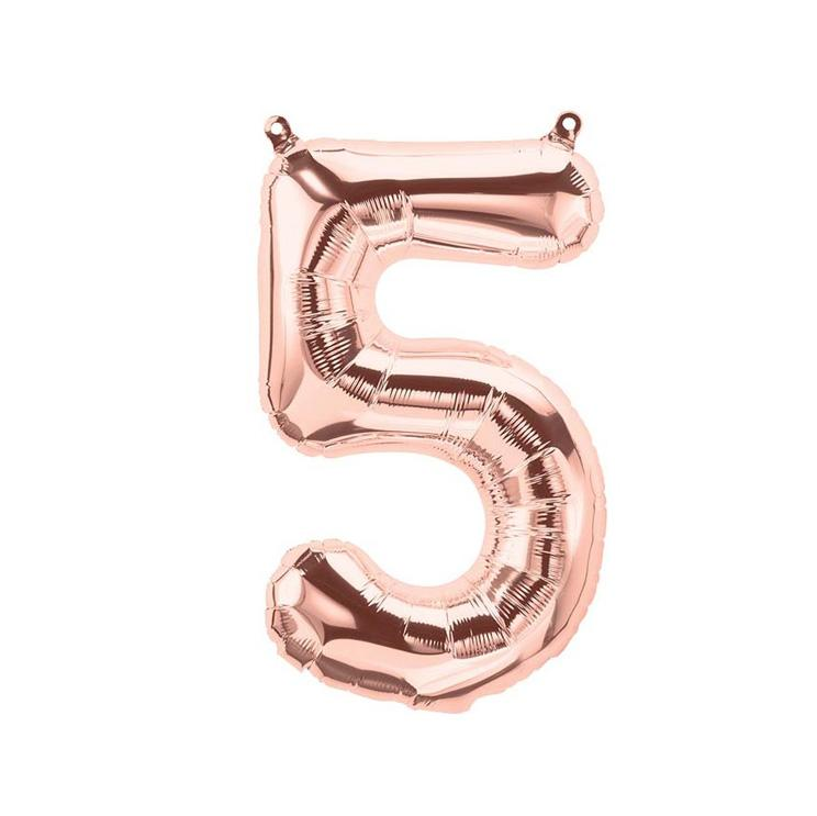 16 inch Rose Gold Number 5 Foil Balloon