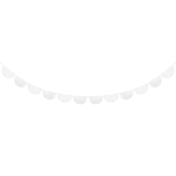 Scalloped Fringe Paper Garland - White  Tissue Fan Garland Party Deco - Hello Party