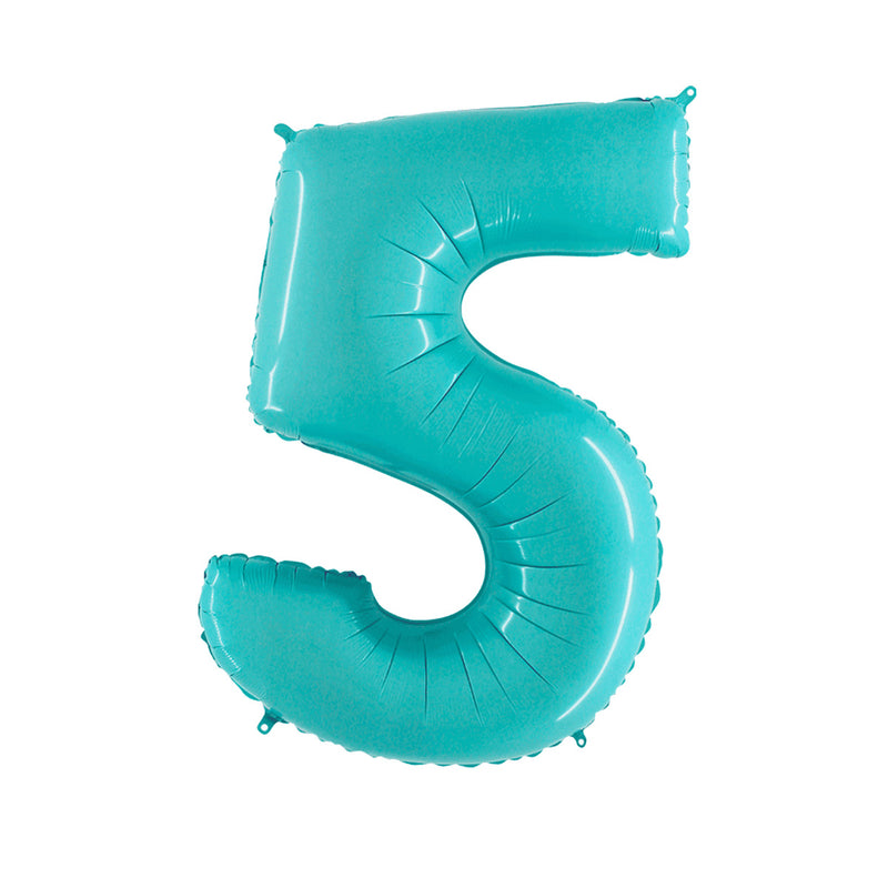 Large Light Blue Number Foil Party Balloons - 5-five