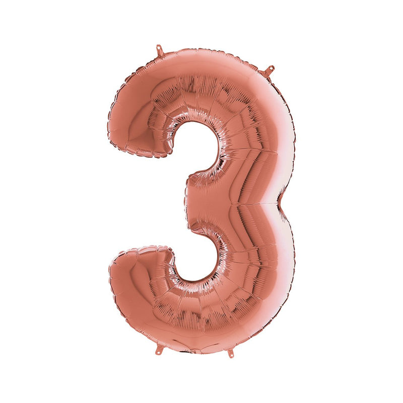 Large Rose Gold Number Foil Party Balloons - 3-three