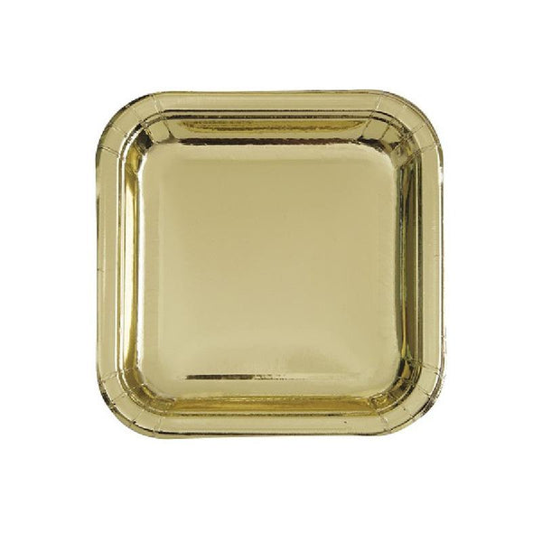Shiny Metallic Gold Square Paper Plates  Party Plates Unique - Hello Party