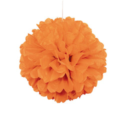 Orange Pom Pom Hanging Decoration  Tissue Pom Pom HelloPartyUK - Hello Party