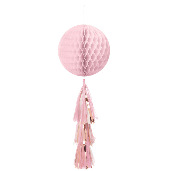 Rose Gold and Pink Hanging Honeycomb Decoration  Honeycomb Decoration amscan - Hello Party