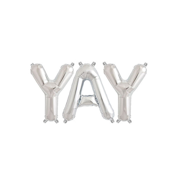 YAY - 16 inch Silver Foil Letter Balloon Pack  Balloons Hello Party - All you need to make your party perfect!  - Hello Party