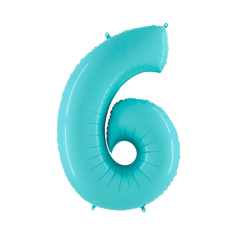 Large Light Blue Number Foil Party Balloons - 6-six