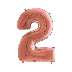 Large Rose Gold Number Foil Party Balloons - 2-two