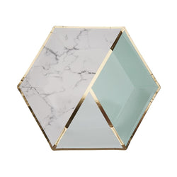 Mint Colour Block Marble Large Plate (pack of 8)  Party Plates Neviti - Hello Party