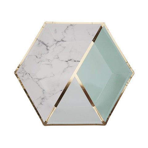 Mint Colour Block Marble Large Plate (pack of 8)