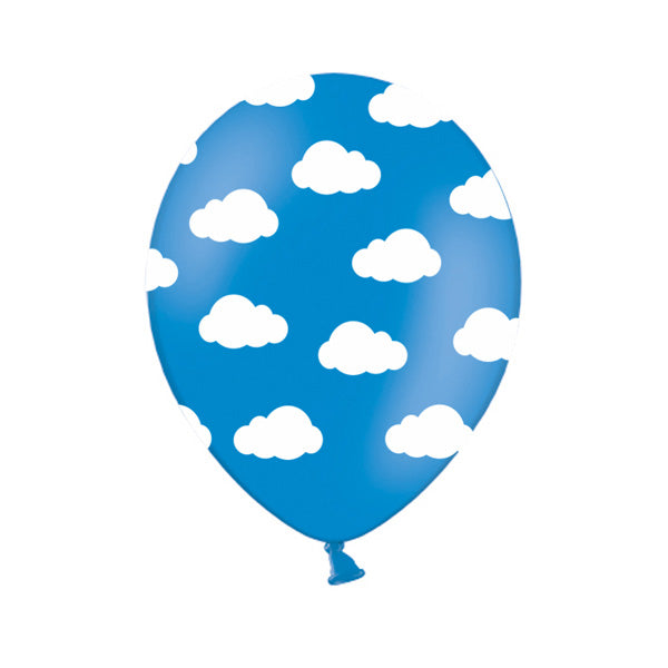 Cornflower Blue Cloud Pattern Balloons (Pack of 3)  Printed Latex Balloons Hello Party Essentials - Hello Party
