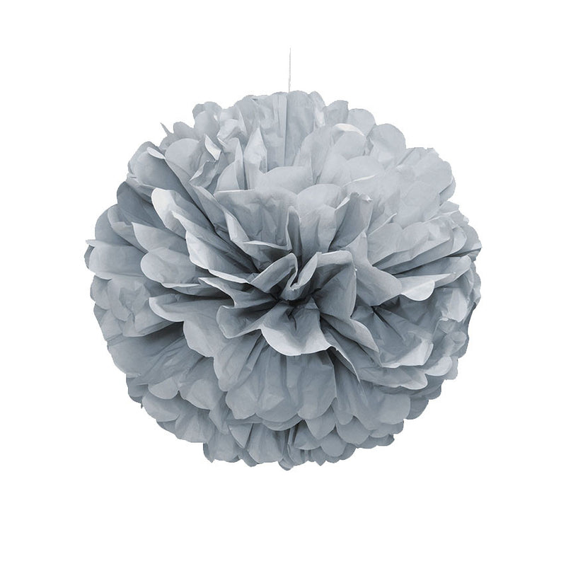Grey Pom Pom Hanging Decoration  Tissue Pom Pom HelloPartyUK - Hello Party