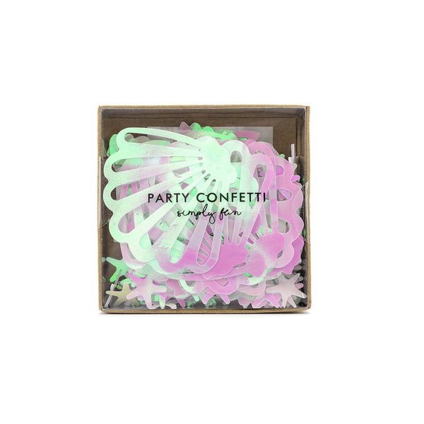 Iridescent Seashell Scatter Confetti Narwhal Ocean Under the Sea Party Decorations