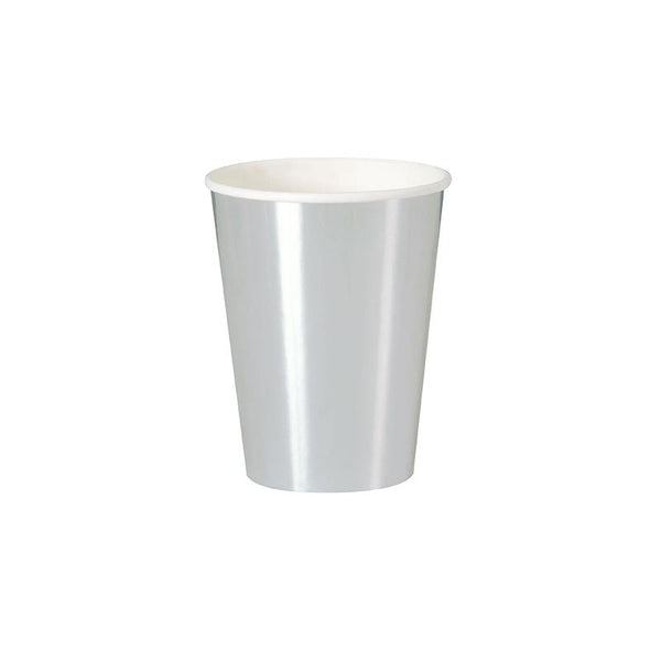 Shiny Metallic Silver Large Paper Cups