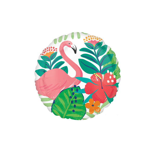 Tropical Flamingo Round Foil Balloon  Standard Foil Balloons qualatex - Hello Party