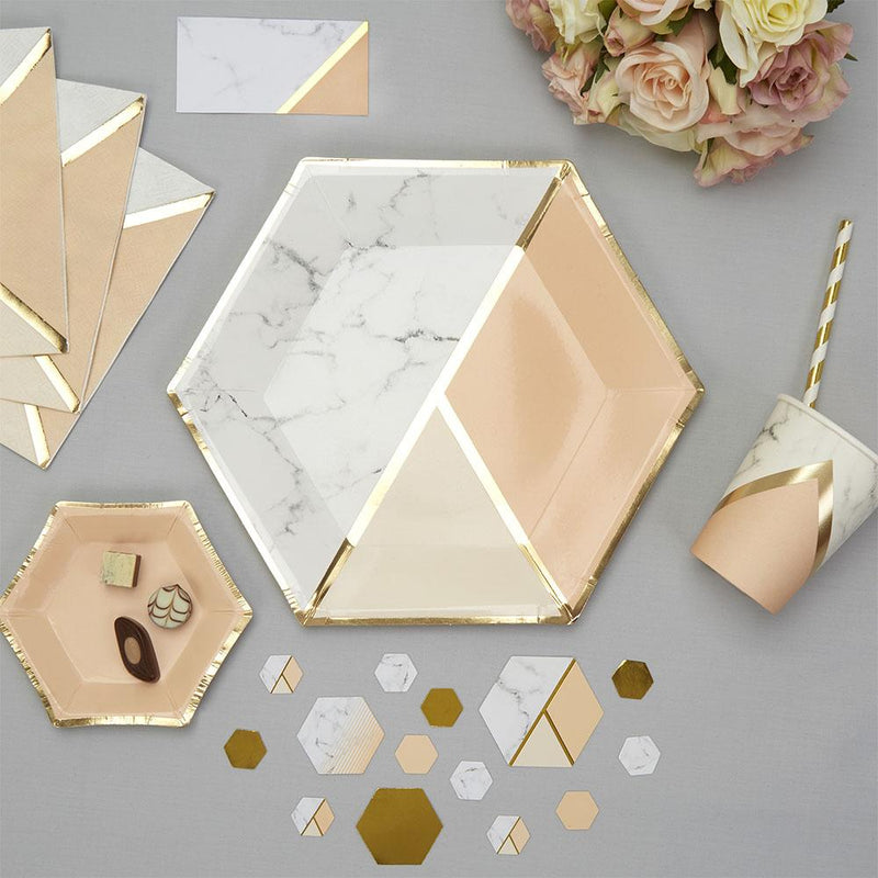Blush Colour Block Marble Large Plate (pack of 8)  Party Plates Neviti - Hello Party