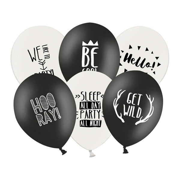 Monochrome Party Slogan Balloons